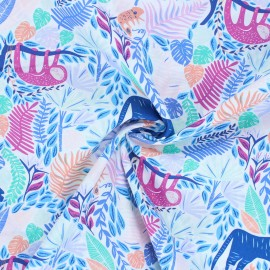 AGF Selva poplin cotton fabric - white Junglen Joyous x 10cm