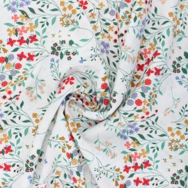 Flowery Viscose Fabric - white Cécilia x 10cm
