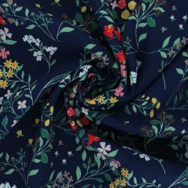 Flowery Viscose Fabric - navy blue Cécilia x 10cm