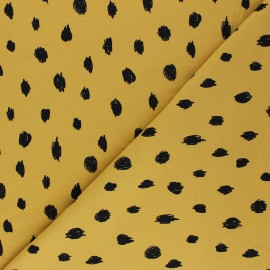 Poppy Sweatshirt fabric - mustard yellow Printed dots x 10cm