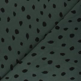 Poppy Sweatshirt fabric - dark green Printed dots x 10cm