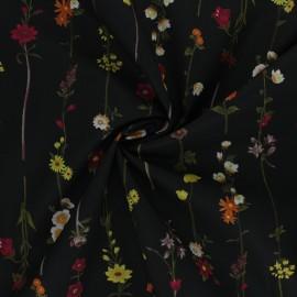 Tissu popeline de coton Kokka Retro Flower - Flowers Stripes - noir x 10cm