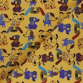 Poppy Sweatshirt fabric - mustard yellow Sweet Dogs x 10cm
