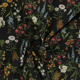 Tissu popeline de coton Kokka - Odelie - noir x 10cm