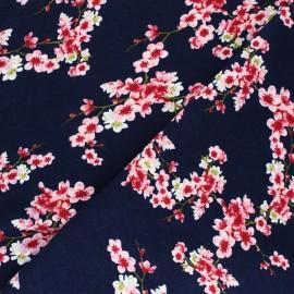 Poppy Sweatshirt fabric - navy blue Cherry Blossom x 10cm