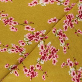 Poppy Sweatshirt fabric - mustard yellow Cherry Blossom x 10cm