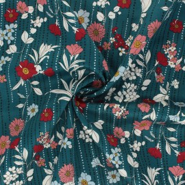 Kokka satin poplin fabric Retro Flower - duck blue Othilde x 10cm