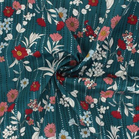 Kokka satin poplin fabric Retro Flower - duck blue Othilde x 10cm