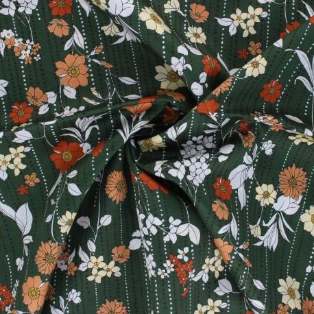 Kokka satin poplin fabric Retro Flower - khaki green Othilde x 10cm