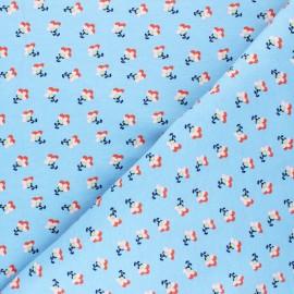 Poppy Sweatshirt fabric - pastel blue Little Flowers x 10cm