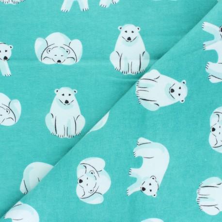 Cloud 9 Flannel Fabric Northerly - celadon Cute Bears x 10cm