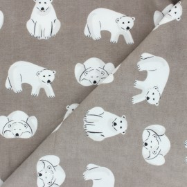 Tissu Flanelle Cloud 9 Northerly - Cute Bears - taupe x 10cm