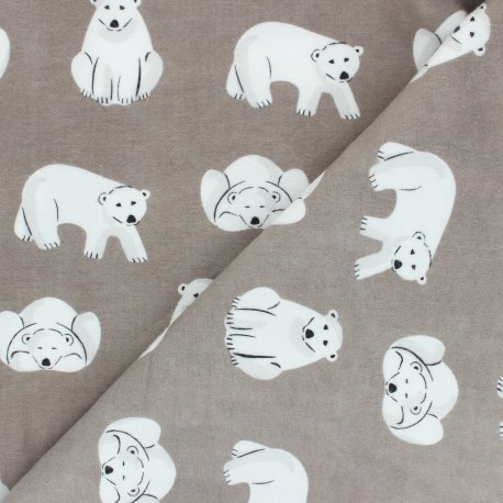 Cloud 9 Flannel Fabric Northerly - taupe Cute Bears x 10cm