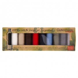 10 spools set of Gutermann Recycled Polyester Sewing Thread 100m - Primary colors