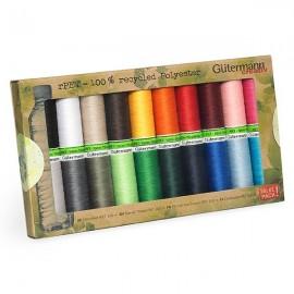 Set de 20 bobines de Fil à Coudre Polyester Recyclé Gutermann 100m - Multicolore