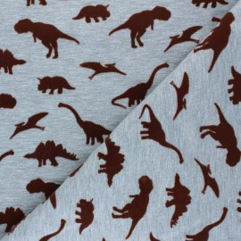 Poppy Jersey fabric - mottled grey Dangerous Dinosaurs x 10cm