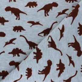 Tissu jersey Poppy Dangerous Dinosaurs - gris chiné x 10cm