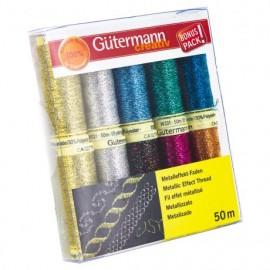 Set de 10 bobines de Fil à coudre effet métallisé Gutermann 50m - Multicolore