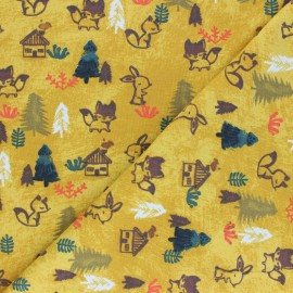 Poppy Jersey fabric - mustard yellow Woodland x 10cm