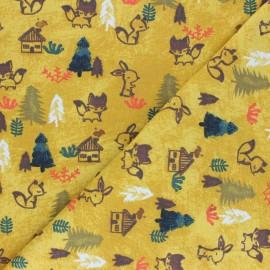 Tissu jersey Poppy Woodland - jaune moutarde x 10cm