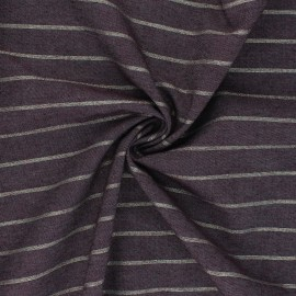 Lurex cotton Chambray fabric - eggplant Augusta x 10cm