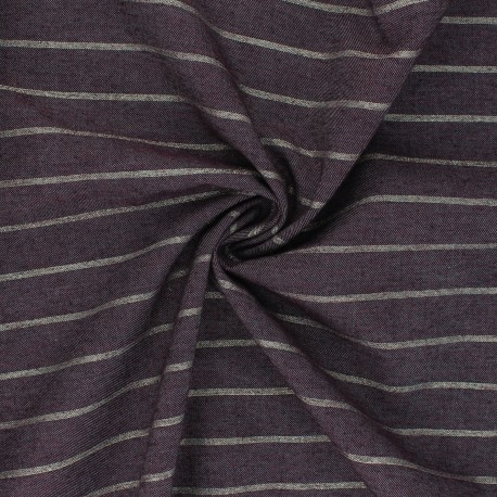 Tissu coton chambray Lurex Augusta - aubergine x 10cm