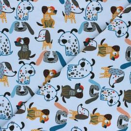 Poppy Sweatshirt fabric - pastel blue Sweet Dogs x 10cm