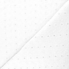 Tissu double gaze de coton brodé Suzy - blanc x 10cm