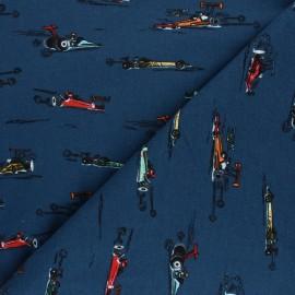Poppy Sweatshirt fabric - petrol blue Fast Cars Woo! x 10cm