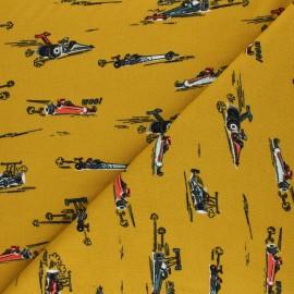 Poppy Sweatshirt fabric - mustard yellow Fast Cars Woo! x 10cm