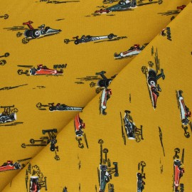 Tissu sweat Poppy Fast Cars Woo! - jaune moutarde x 10cm