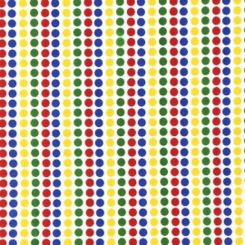 Remix Pois Primary Fabric - Blue / Red / Green / Yellow x10cm