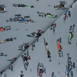 Poppy Sweatshirt fabric - grey Fast Cars Woo! x 10cm