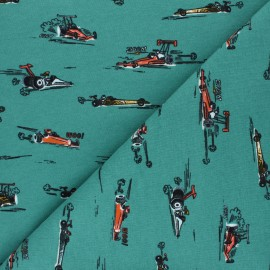 Tissu sweat Poppy Fast Cars Woo! - vert x 10cm