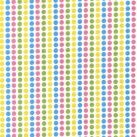 Tissu Remix Pois Spring ciel-vert-rose-jaune