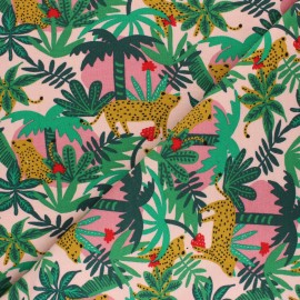 Poppy Sweatshirt fabric - pink Tiger in the forest x 10cm