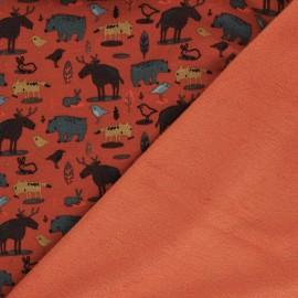 Poppy Sweatshirt with minkee fabric - rust Animals x 10cm
