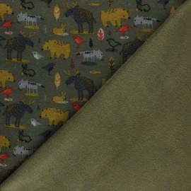 Poppy Sweatshirt with minkee fabric - khaki green Animals x 10cm