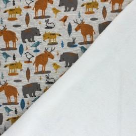 Poppy Sweatshirt with minkee fabric - mottled grey Animals x 10cm