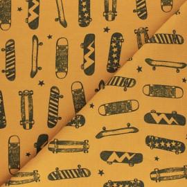 Poppy French Terry fabric - yellow mustard Skateboards & stars x 10cm