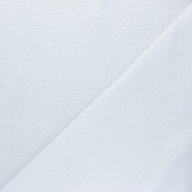 Embroidered Double gauze Cotton fabric - white Agnès x 10cm