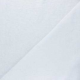Embroidered Double gauze Cotton fabric - white Agnès x 10cm