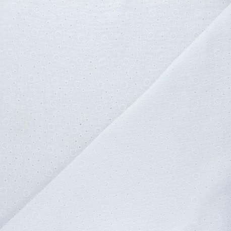 Tissu double gaze de coton brodé Agnès - blanc x 10cm