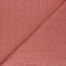 Embroidered Double gauze Cotton fabric - marsala Adèle x 10cm