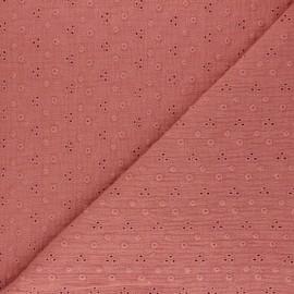Tissu double gaze de coton brodé Adèle - marsala x 10cm