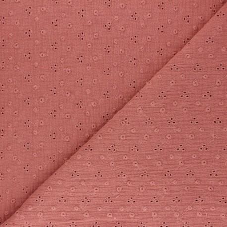 Embroidered Double gauze Cotton fabric - marsala Adèle x 10cm