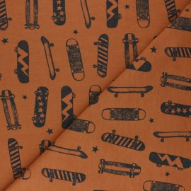 Poppy French Terry fabric - cinnamon Skateboards & stars x 10cm
