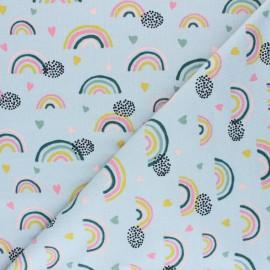 Tissu jersey Poppy Rainbows and hearts - gris x 10cm