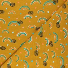 Poppy Jersey fabric - mustard yellow Rainbows and hearts x 10cm