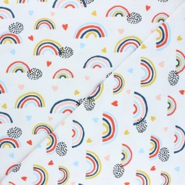 Poppy Jersey fabric - white Rainbows and hearts x 10cm